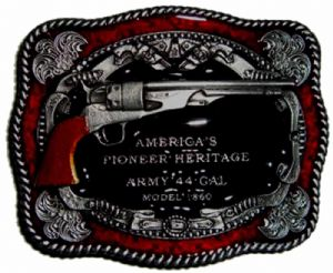 Army 44 Caliber Model 1860 America's Pioneer Heritage Belt Buckle with display stand. Code MH1